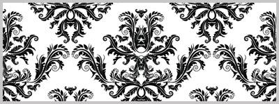 Black white damask pattern