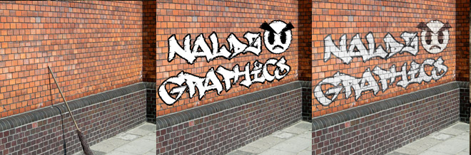 Create a Realistic Graffiti Text and Image on a Nice Clean Wall