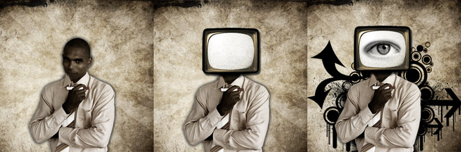Create an Artistic One Eye TV Man in a Grunge Vector Design