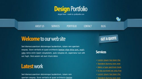Create a clean and professional web design in photoshop.