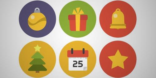 flat circle Christmas icons