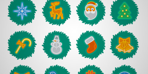 Christmas wreath icons