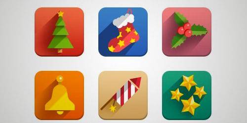 flat square Christmas icons