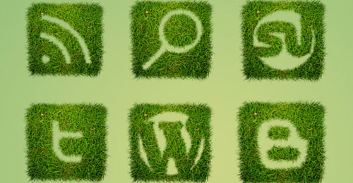 grass textured icon set