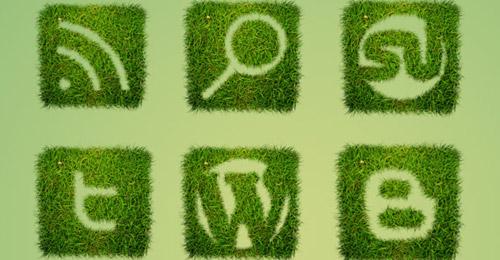 grass textured icon set