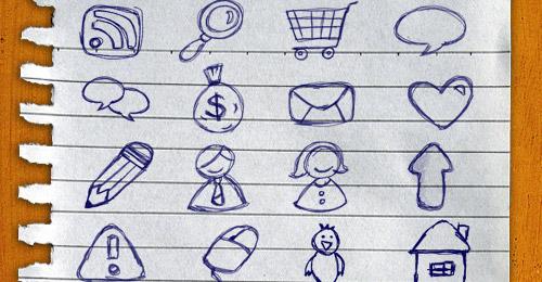 sketchy web icons