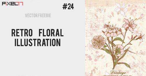 free retro floral vector