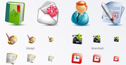 cute blogging icon set