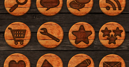 wooden badges social icon pack