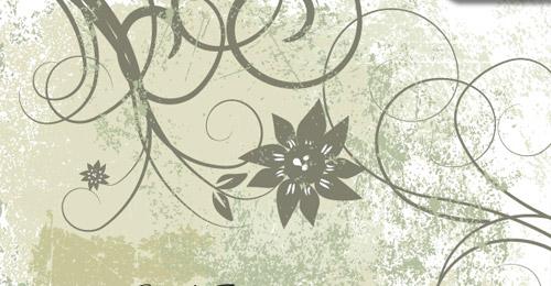 free grunge vector floral background