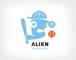 Alien Baseball Blue Logo