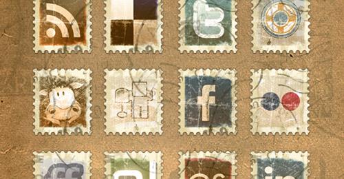 vintage stamp icon pack