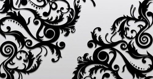 black floral ornaments vector