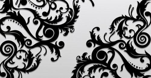 black floral ornaments vector