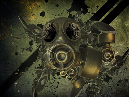 Gas mask Grunge wallpaper
