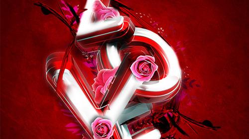 valentine's day typography 3d