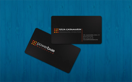 black elegant round corner business card