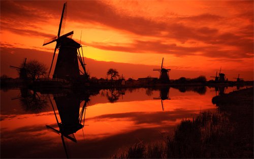 windmill kinderdijk sunset wallpaper