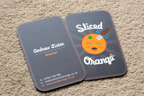 orange round corner business card