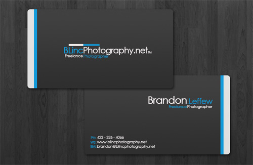 black blue round corner business card