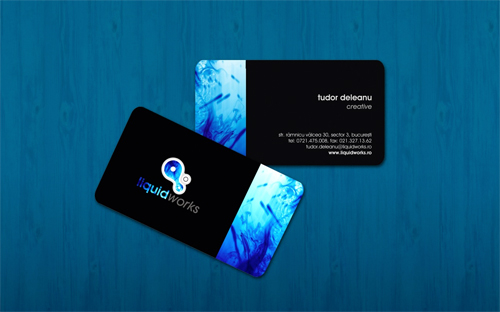 blue rounded corner business card
