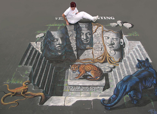 cool 3d street painting