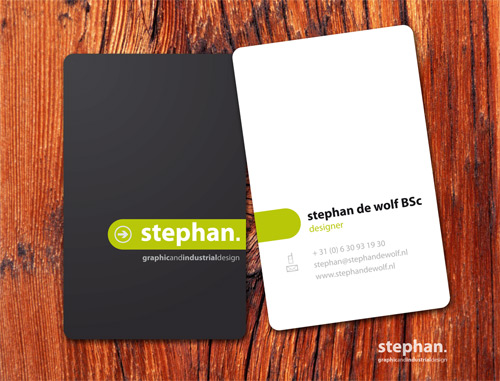 black white round corner business card