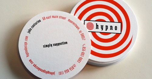 impressive round die business card