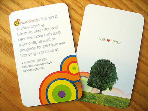 nature rainbow round corner business card
