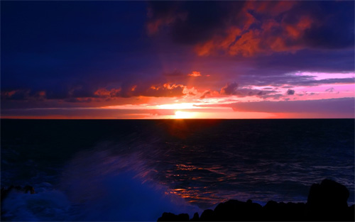 dark sea sunset wallpaper