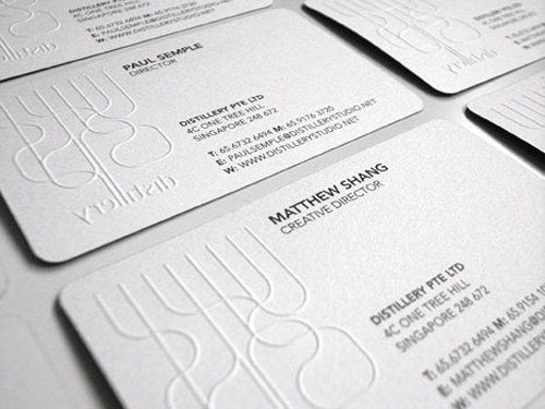 dirty white round corner business card
