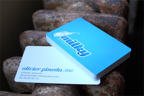 blue milk round corner business card