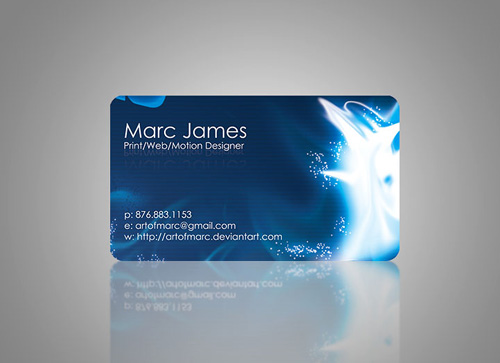 blue abstract round corner business card