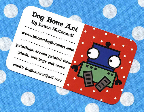polka dots robot round corner business card
