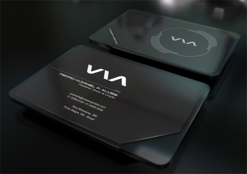 slick black round corner business card