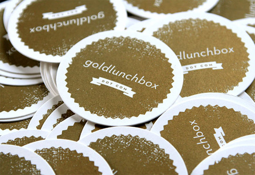 gold lunch box business card