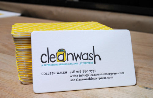 clean wash round corner business card