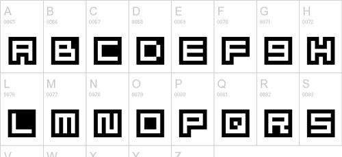 alphabet pixel font