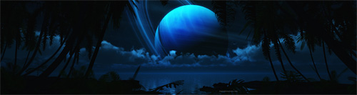 tropical moon triple screen wallpaper