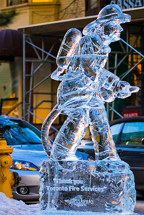 fireman ice sculpture