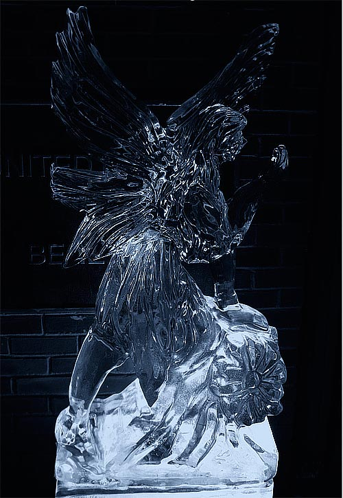 black angel ice sculpture