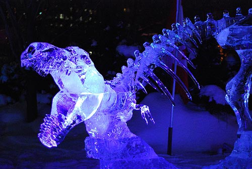 dinosaur ice sculpture