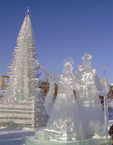 couple ice sculpture