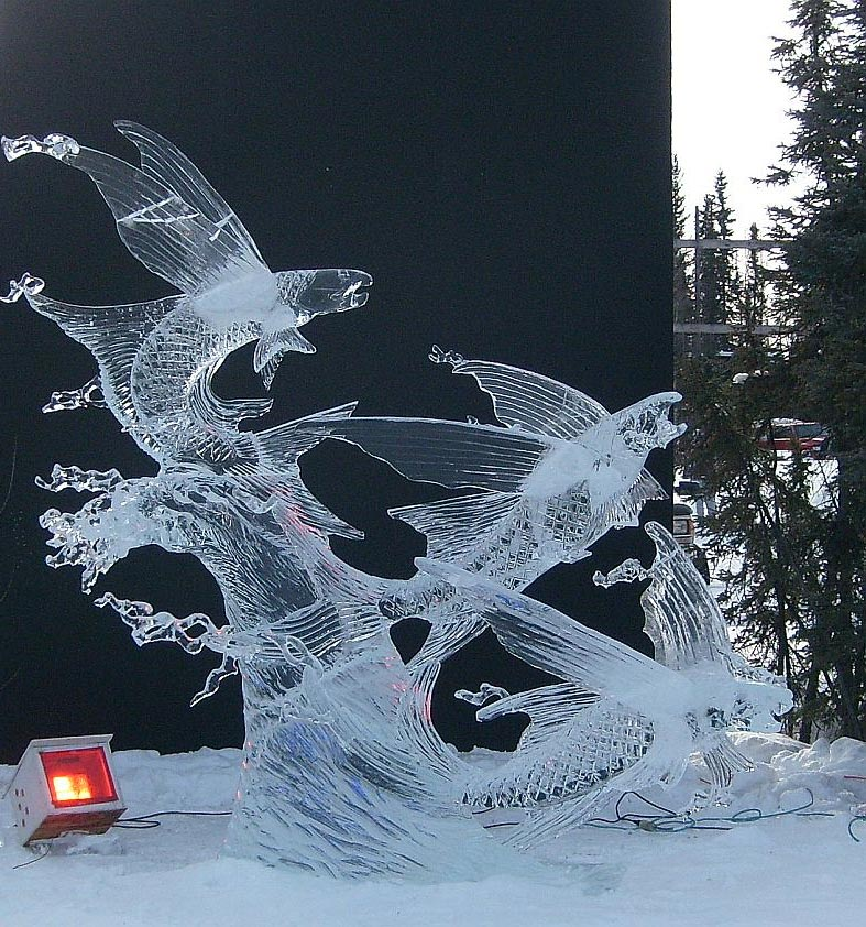 flying fish ice sculpture