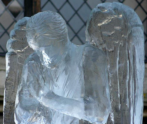 praying ice sculpture