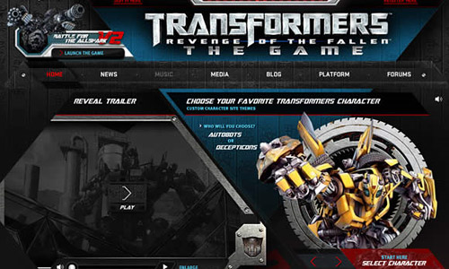 Transformers: Revenge of the Fallen Game Website