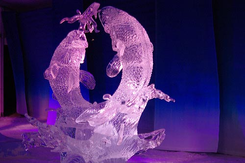 pink fish ice sculpture