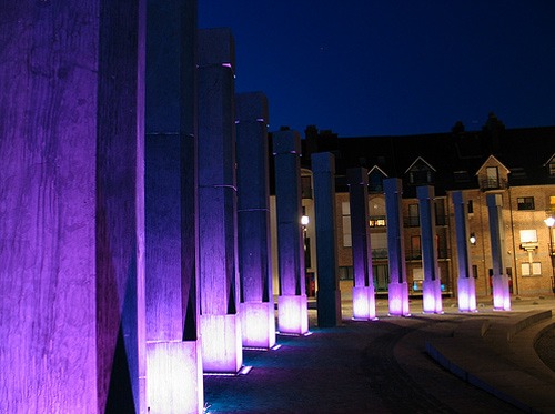 glowing pillars night photography