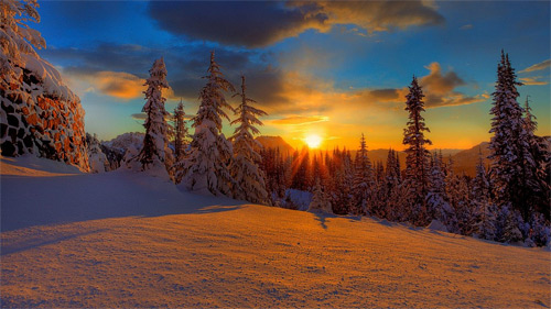 Snow sunrise wallpaper