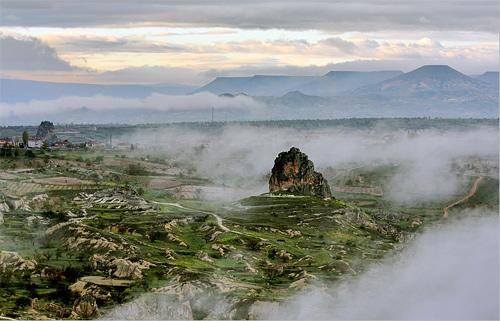 foggy aerial photography